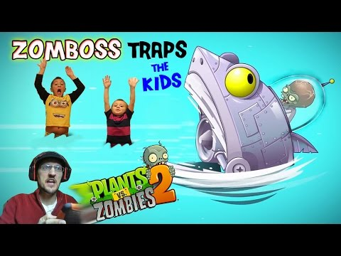 Zomboss Traps the Kids! Duddy to the Rescue! (Lets Play PVZ 2 BIG WAVE BEACH Battle) Gameplay