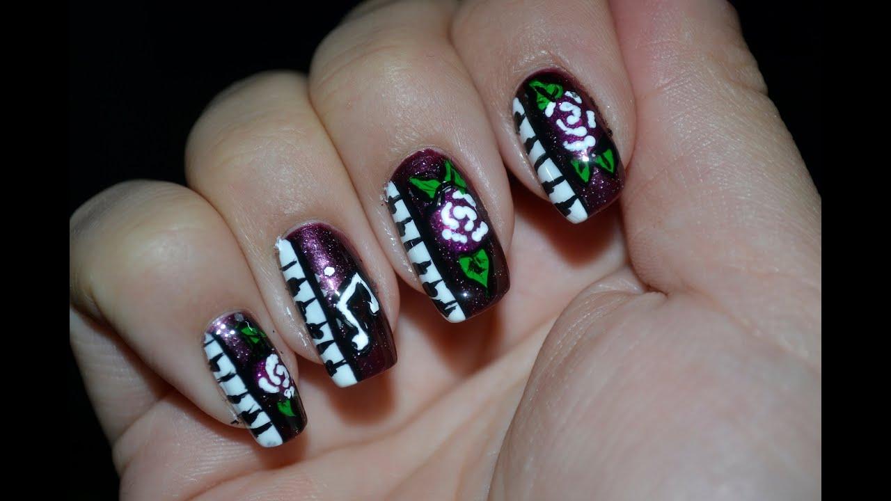 Piano Nails With Roses Nail
