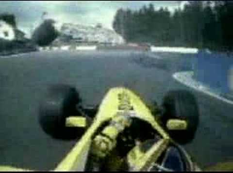 Onboard with Jordan Driver Heinz-Harald Frentzen during the start of 1999 Belgian Grand Prix. Mika Hakkinen made a jump start here but it was not very seriou...