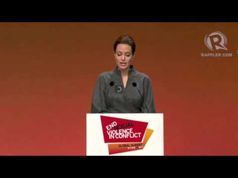 Angelina Jolie at Closing Plenary of summit vs sexual violence...