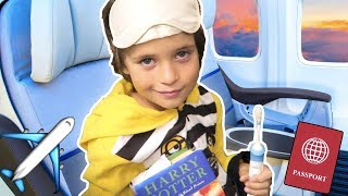 HIS BEDTIME & MORNING ROUTINE ON A PLANE ✈️ 😃 Dad voiceover 👨 YOUTUBE FAMILY ADVENTURES!