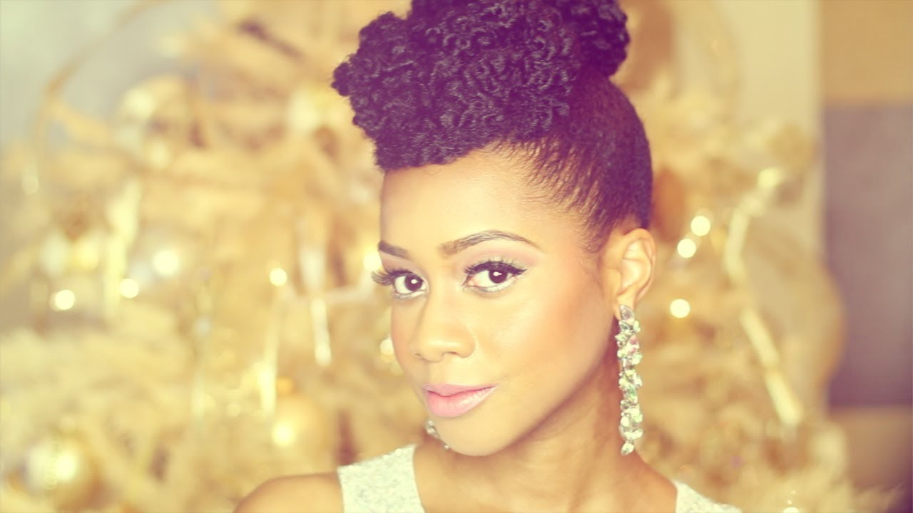 "Natural Hair Styles With Marley Hair: ""Natural Hair"" Updo Hairstyle New Year's Eve Tutorial"