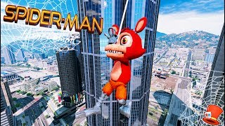 ADVENTURE FOXY TURNS INTO SPIDERMAN! (GTA 5 Mods For Kids FNAF RedHatter)