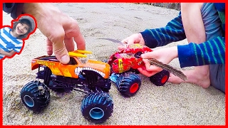 Monster Trucks for Children Learn To Fly!