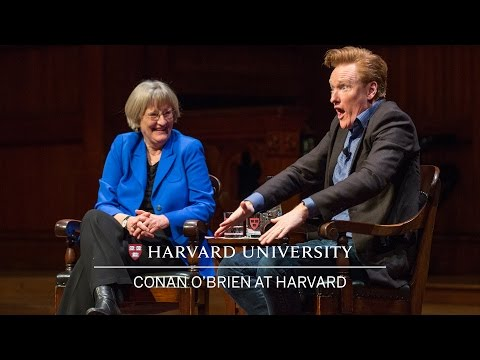 Conan O'Brien in conversation with Harvard University President Drew Faust