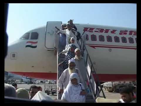 Revenue minister receiving first batch of Haji's at Srinagar Airport.