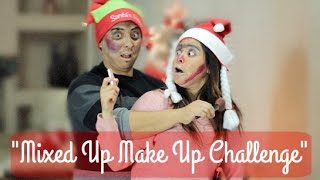 MIXED UP MAKE UP CHALLENGE CHRISTMAS EDITION!! || RETO MAQUILLAJE REVUELTO!!
