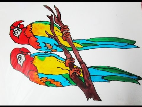 How to Make Parrots Glass Painting