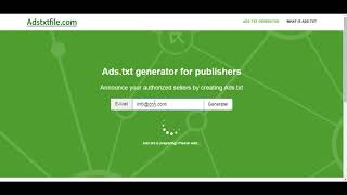 Ads.txt generator for publishers
