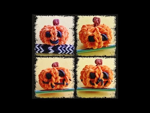 Rainbow Loom - Design your own Halloween Charms 3D Jack-o-lantern / Pumpkin with loom bands