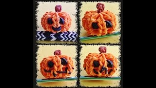 Rainbow Loom Pumpkin - Design your own Halloween Charms 3D Jack-o-lantern / Pumpkin with loom bands