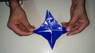 How to make a paper ninja star (shuriken) - origami easy steps for kids - paper stuff