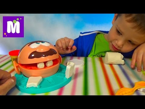 Зубастик доктор Дрилл набор пластилина Плейдо распаковка Dr. Drill 'n Fill unboxing Play-Doh set