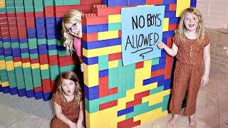GIANT LEGO FORT! No Boys Allowed