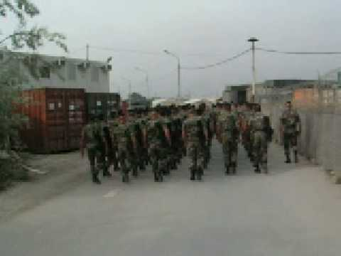 French marines marching and singing in Afghanistan