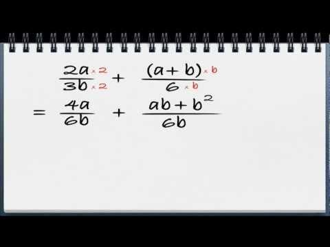 Algebra video 12 - Addisjon og subtraksjon av brøker med tall og variabler