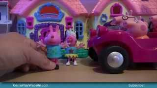 Peppa Pig Family Toys Characters and Figurines in a Pink Car for Girls and Boys