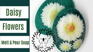 Melt and Pour Soap Making Daisy Flowers Embed Soap with Clear MP Soap