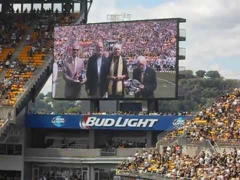 2014 Chuck Noll tribute on Heinz Field scoreboard, and family presentation.