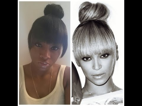 Beyonce Inspired High Bun with Bang Tutorial