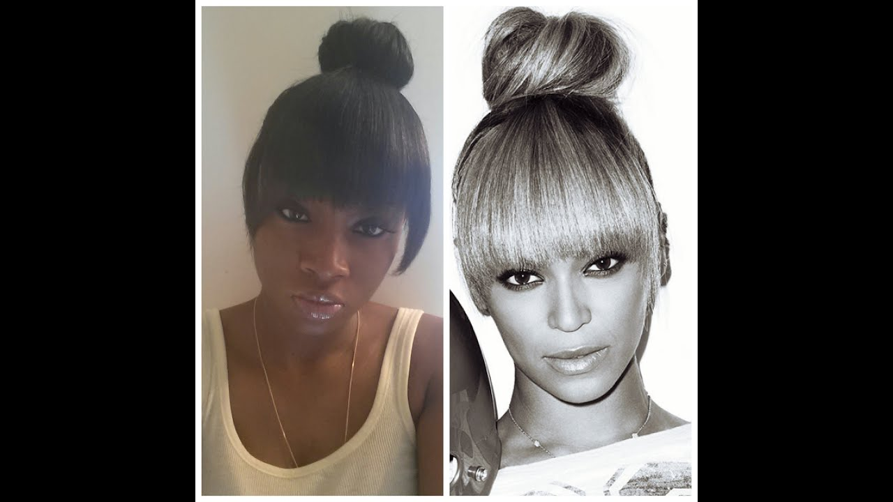 Bun Hairstyle Ideas & Tutorials with Pictures and Videos Pictures of bangs with a bun