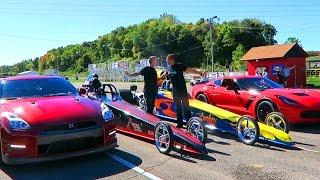 CRAZY GTR vs Z06 DRAGSTER RACE!!
