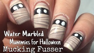 Water Marbled Mummy Nail Art Tutorial for Halloween