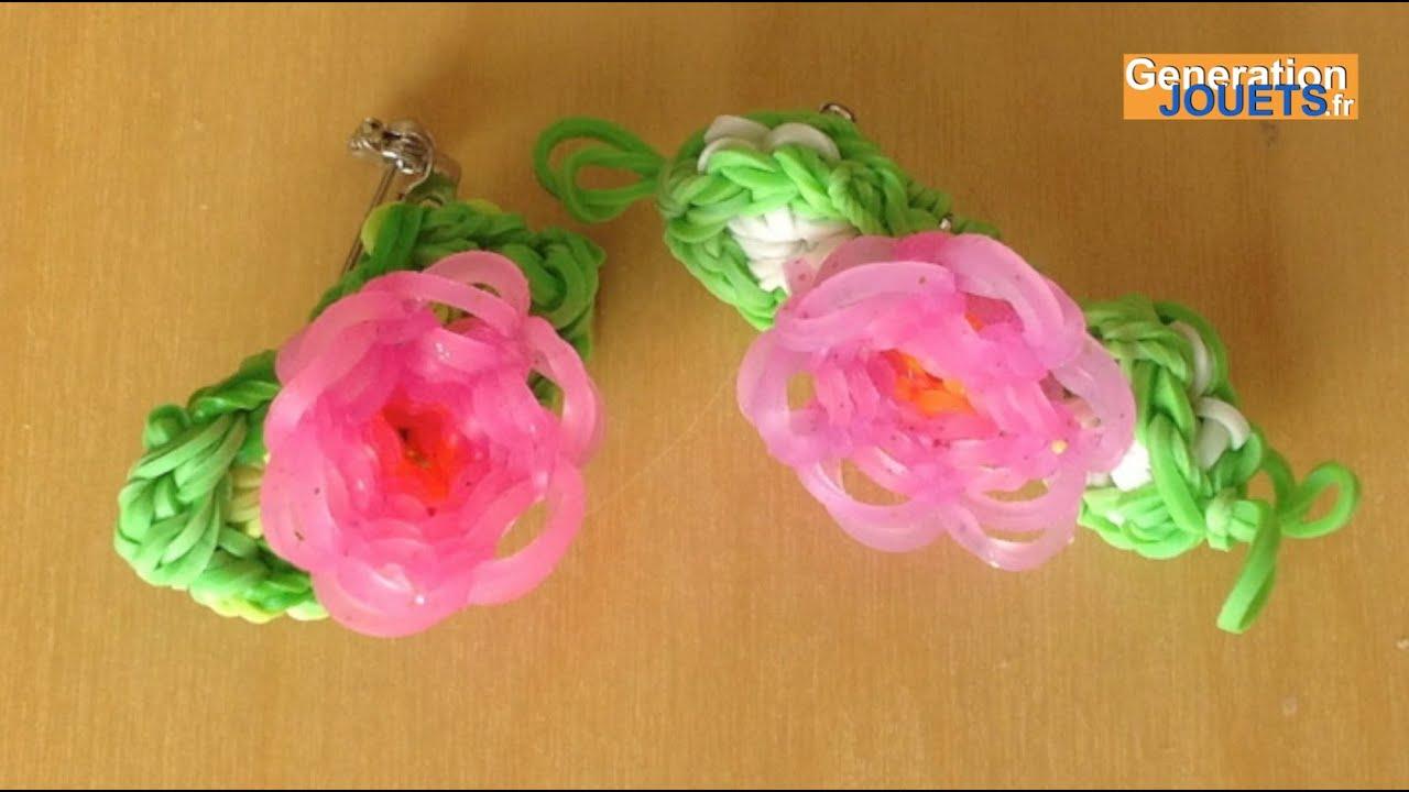 Comment cr er les feuilles pour la fleur rainbow loom youtube - Comment faire une fleur en elastique ...