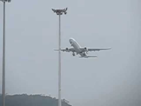 CX A330-300 takeoff @ Hong Kong Chek Lap Kok airport slow motion - Canon SX50 HS