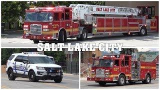 [Man hit by TRAX-Train] - SALT LAKE CITY FIRE Truck 8, Engine 1, Transit Police & EMS responding