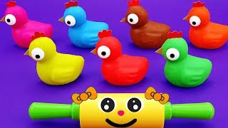 Johny Johny Yes Papa Nursery Rhymes - Learn 6 Colors Play Doh Chickens Animals Toys Surprise Eggs