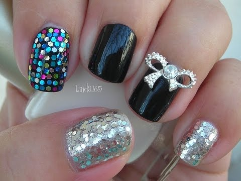 Nail Art - Silver Bow Kpop Inspired - Decoracion de Uñas