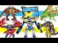 Mech-X4 vs Harper's Beast Jaguasaur Clawboon & Chameleo Wasp Disney 5 inch Action Figures Bandai