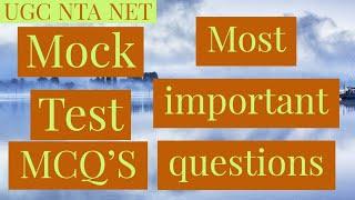 UGC NET (NTA) 2018   MOCK TEST PAPER   MOST IMPORTANT QUESTIONS