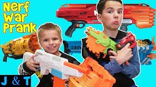 NERF War - Pranking Family / Jake and Ty