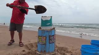 Sand Castle shaping with 2 simple tools #1
