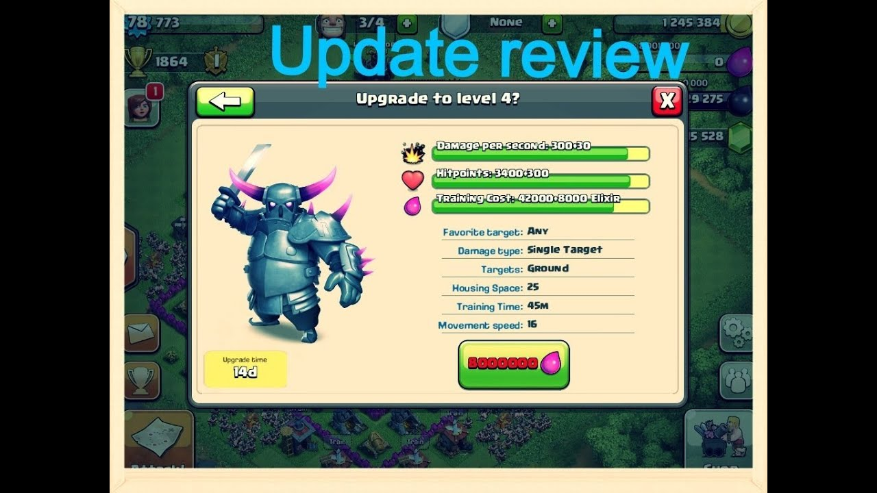 clash of clans new update review pekka level 4 and