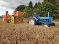 Fordson Super Major with Dronningborg D600 harvester Behind (Barley Harvest 2017)