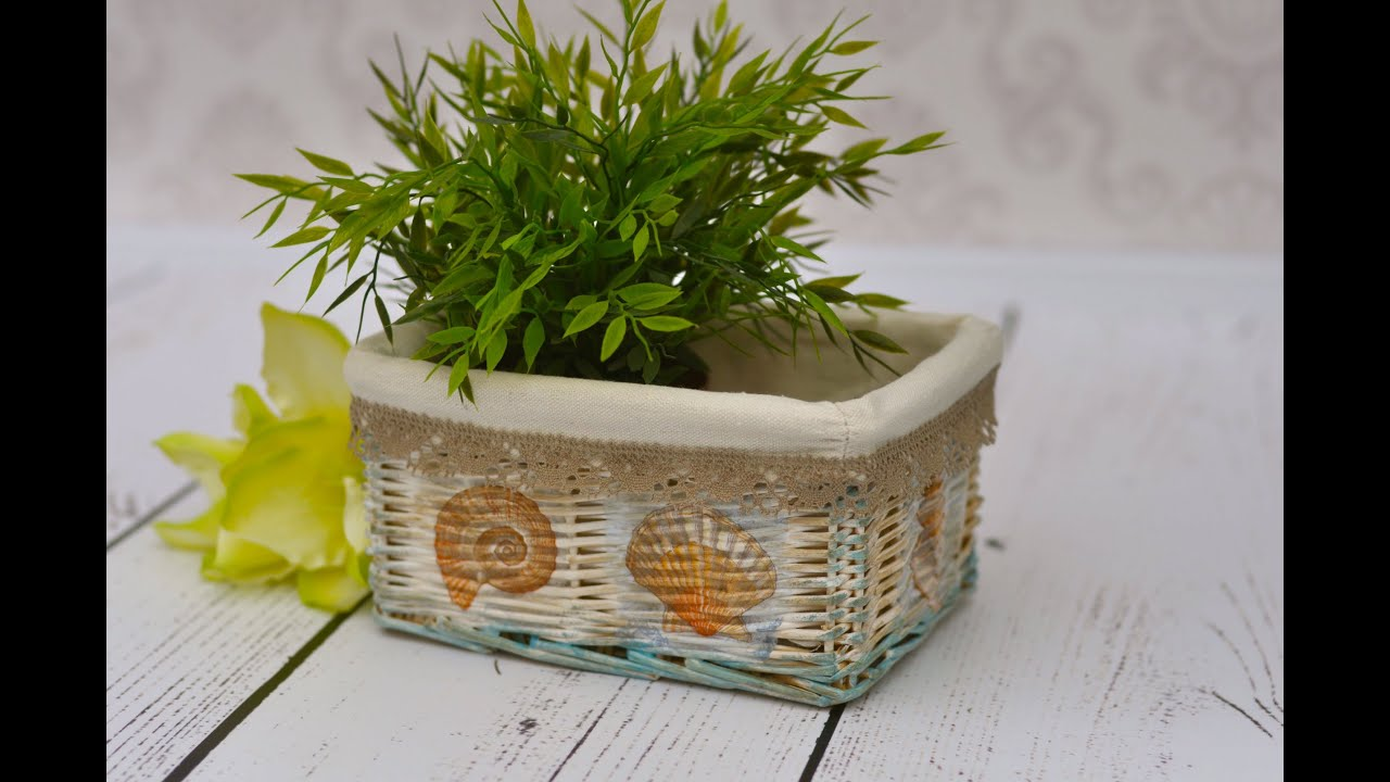 Decoupage tutorial - how to decorate wicker basket - YouTube
