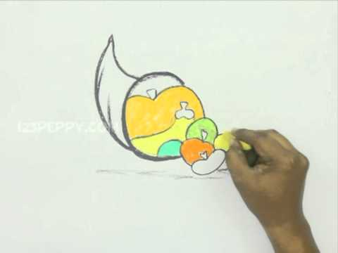 How to Draw a Colorful Thanksgiving Fruits