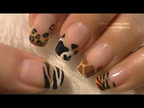 Animal Prints Nail Art Tutorial / Arte para las uñas con dibujos de manchas de animales Music Videos