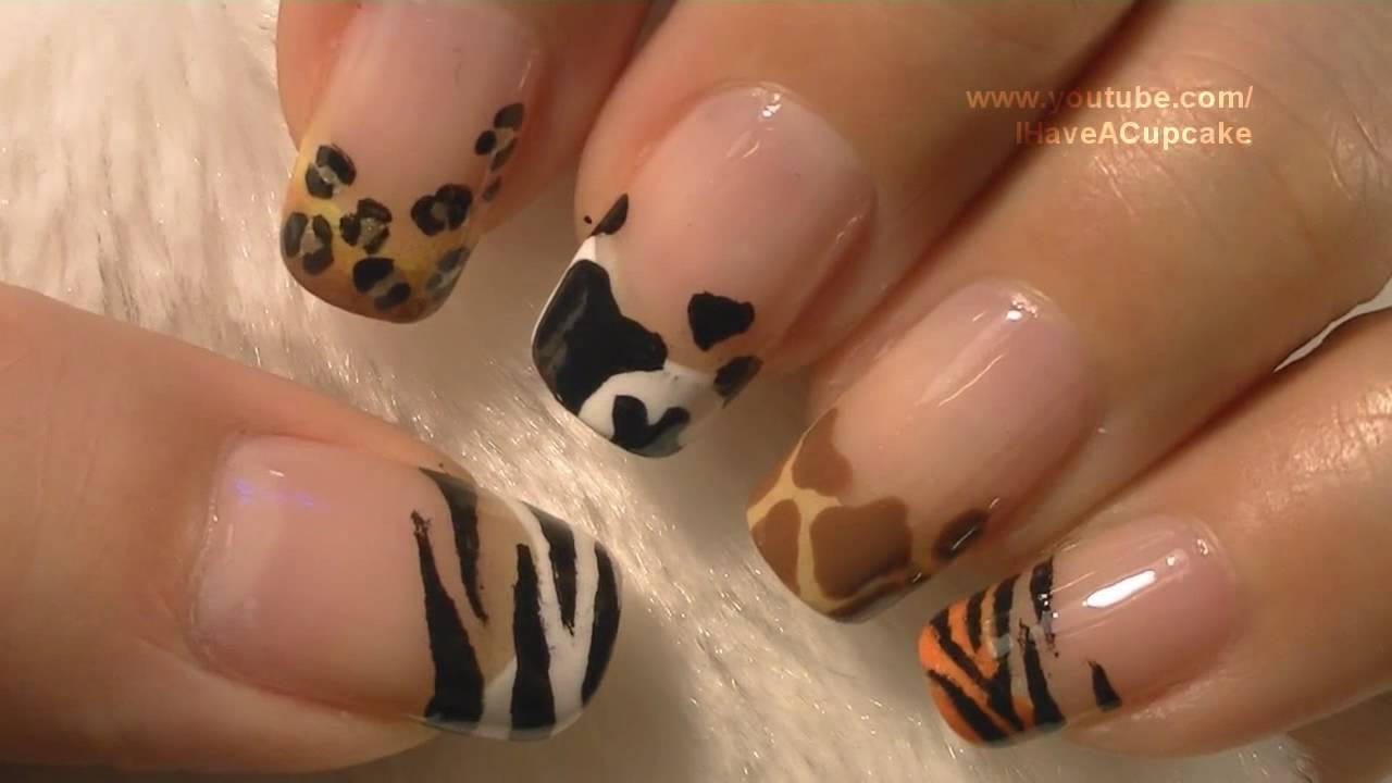 Animal Prints Nail Art Tutorial / Arte para las uñas con dibujos de ...