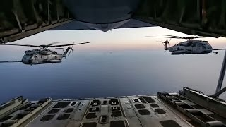 Super Stallion Helicopters Refuel In Flight