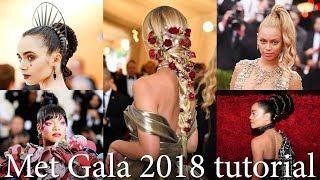 How to repeat MetGala2018 Hairstyles Tutorial: Lily Collins, Jasmin Sanders, Rihanna, Beyonce