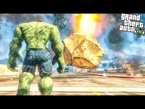 GTA 5 Моды: ХАЛК ПРОТИВ МЕТЕОРИТОВ | Hulk vs Meteors