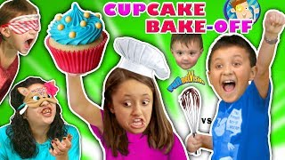 BROTHER vs SISTER CUPCAKE BAKE OFF Mystery Box CHALLENGE! Chef Kids Cooking w  FUNnel Vision Ju