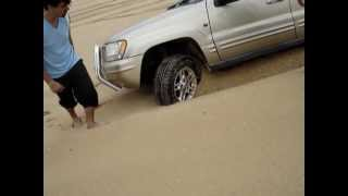 stockton sand dunes,  jeep cherokee v8 stuck in soft sand