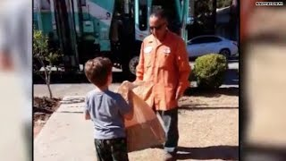 Garbage man gives autistic boy a special gift!