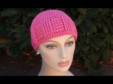 Crochet Hat Patterns Free Cancer Patients : Crochet for Cancers Basketweave Vertical Stripe Cap - YouTube