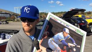 Royals fan shows off poster of Ned Yost bunting in 1983